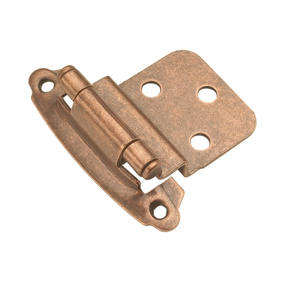 "3/8"" Inset Face Mount Self-Closing Hinge Antique Copper Hickory Hardware P243-AC"