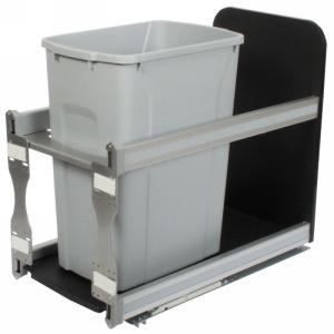 KV USC12-1-35PT 35QT Bottom Mount Trash Pull-Out with Soft Close, Platinum, Knape and Vogt