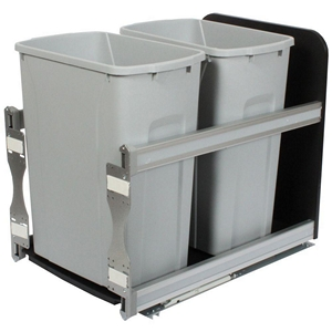 KV USC15-2-35PT Double 35QT Bottom Mount Trash Pull-Out with Soft Close, Platinum, Knape and Vogt