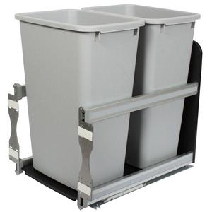 KV USC18-2-50PT Double 50QT Bottom Mount Trash Pull-Out with Soft Close, Platinum, Knape and Vogt