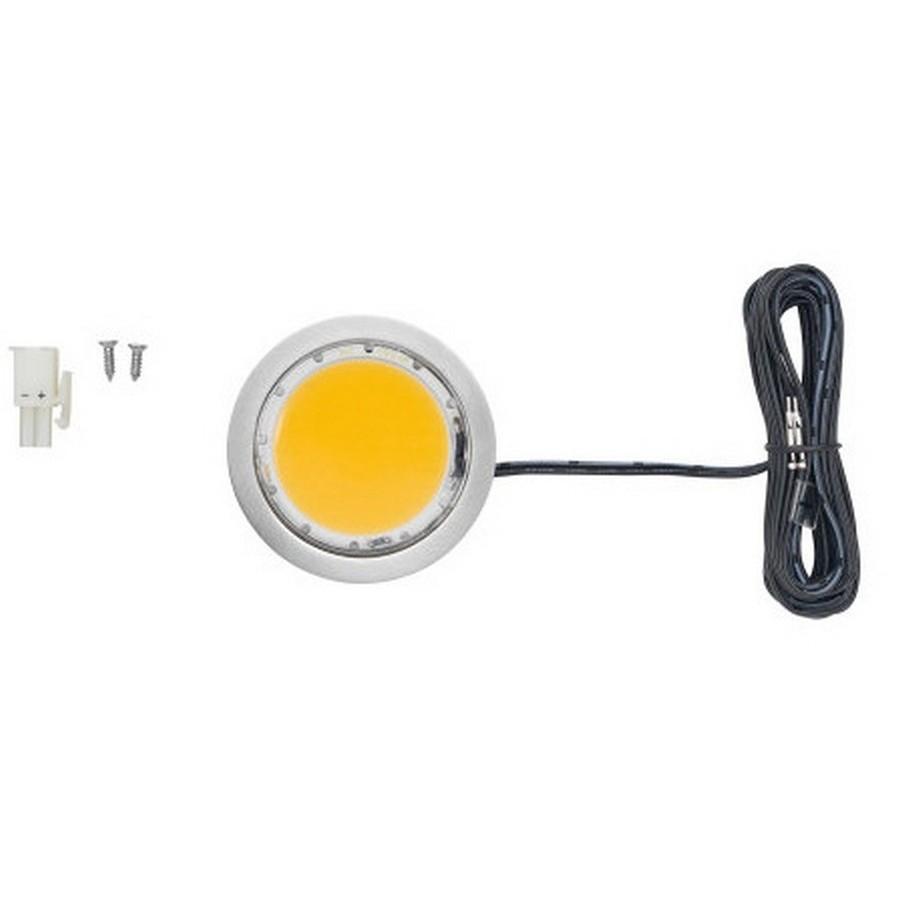5W Power Pockit LED Puck Light Warm White Nickel Tresco L-POC-5LEDSCL-WNI-100