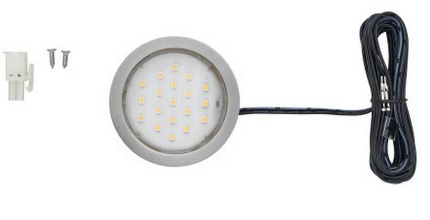 1.5W Pockit Plus LED Puck Light Warm White Nickel Tresco L-POC-1LEDSFR-WNI-1