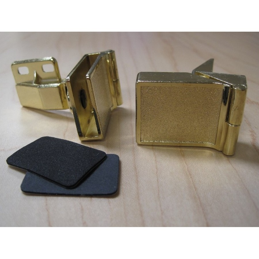 Overlay Side Mount Glass Door Hinge Polished Brass Wood Technology 2253.002.028