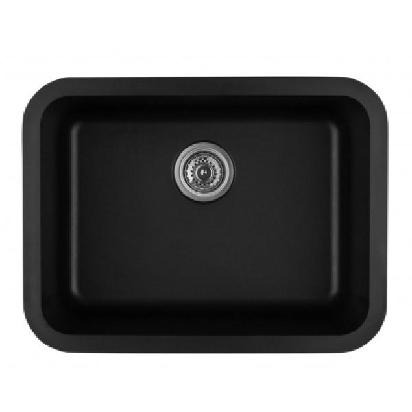 "24"" Seamless Undermount Single Bowl Quartz Kitchen Sink Black Karran Q-320-BL"