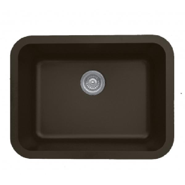 """24"""" Seamless Undermount Single Bowl Quartz Kitchen Sink Brown Karran Q-320-BR"""