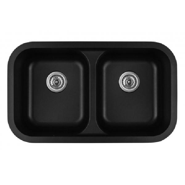 "32"" Seamless Undermount Double Equal Bowl Quartz Kitchen Sink Black Karran Q-350-BL"