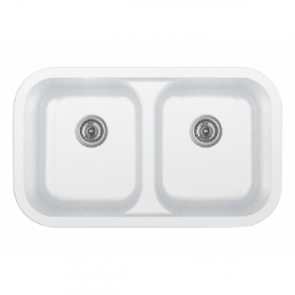 """32"""" Seamless Undermount Double Equal Bowl Quartz Kitchen Sink White Karran Q-350-WH"""