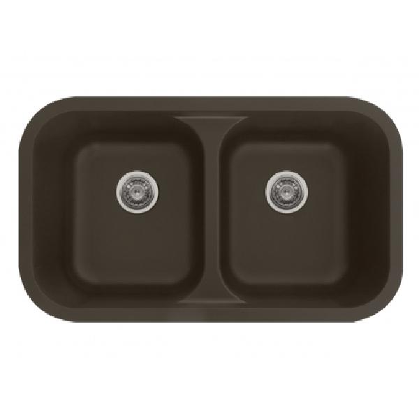 "32"" Seamless Undermount Double Equal Bowl Quartz Kitchen Sink Brown Karran Q-350-BR"