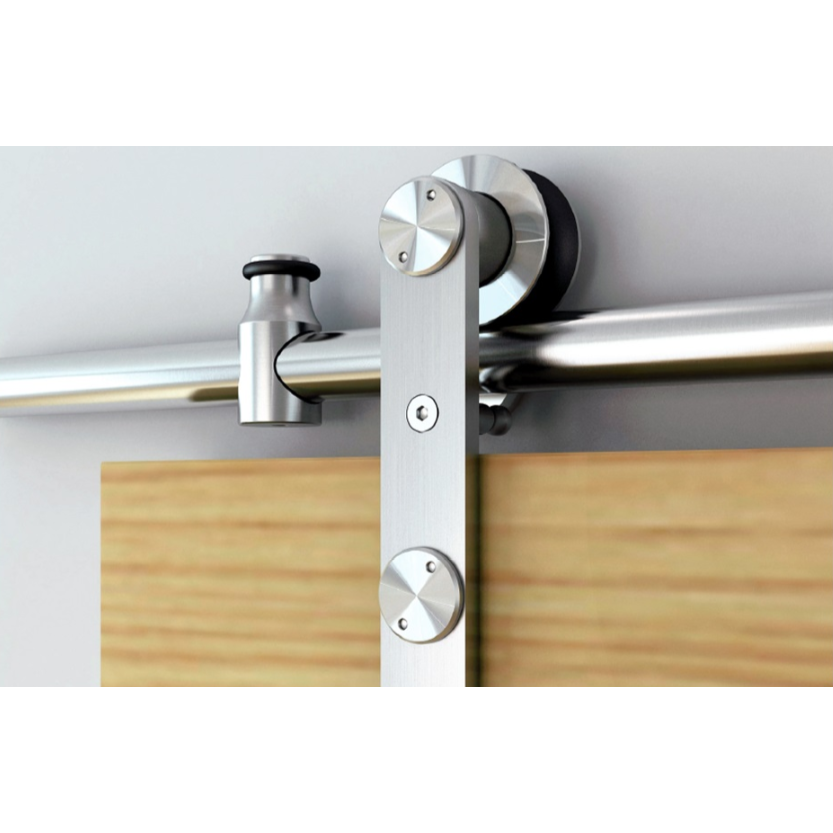 Barn Door Hardware Kit with Standard-Close, Round Rail, Face Mount, Stainless Steel, WE Preferred 77114 56 001