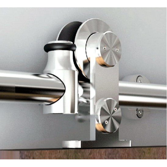 Barn Door Hardware Kit with Standard-Close, Round Rail, Top Mount, Stainless Steel, WE Preferred 77124 56 003