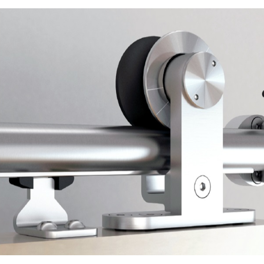 Barn Door Hardware Kit with Soft-Close, Round Rail, Top Mount, Stainless Steel, WE Preferred 77123 56 004