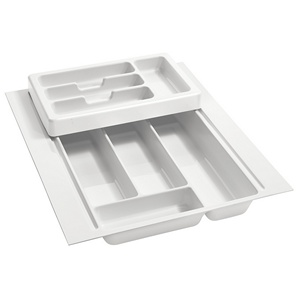 "Half Tier Plastic Cutlery Drawer Insert1 7-3/4"" W Glossy White Rev-A-Shelf RT 14-3H"