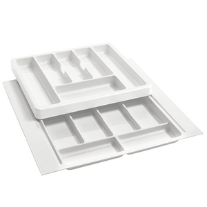 "21-3/4"" 2-Tiered Cutlery Drawer Insert, Plastic, White, Rev-A-Shelf RT 18-4F"