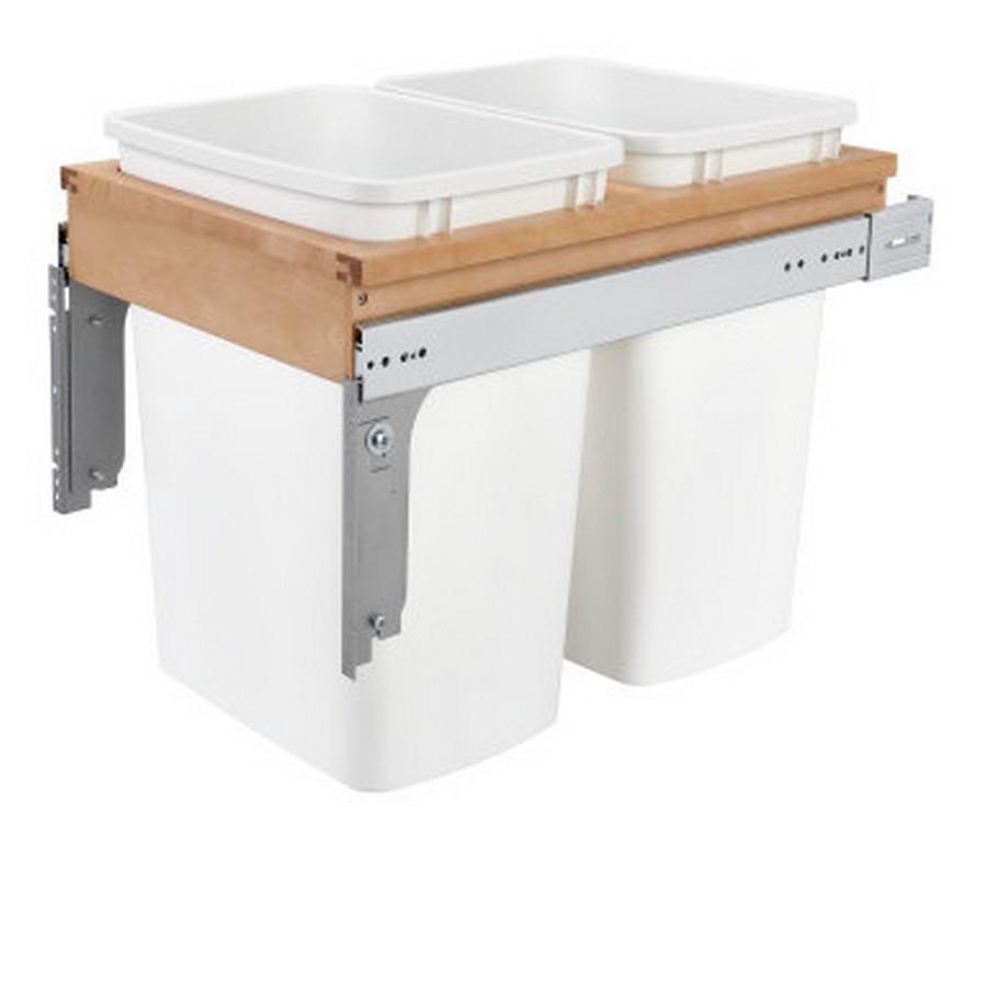 4WCTM Top Mount Double 35 Quart Waste Container Maple Rev-A-Shelf 4WCTM-18DM2