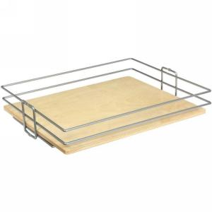 KV BP14CM-FNW, 14in Center Mount Basket, Frosted Nickel Wire w/ Birch Platform for KV Pantry Pull-Outs, 14 W x 4-1/8 H x 20-7/16 D