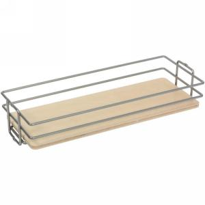 KV BP8CM-FNW, 8in Center Mount Basket, Frosted Nickel Wire w/ Birch Platform for KV Pantry Pull-Outs, 8 W x 4-1/8 H x 20-7/16 D