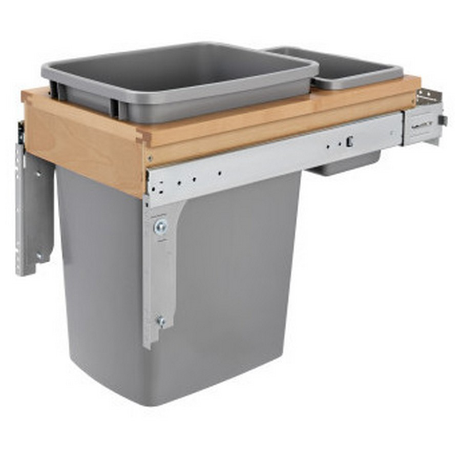 4WCTM Top Mount Single 35 Quart Waste Container (Inset) Maple Rev-A-Shelf 4WCTM-12INDM-1