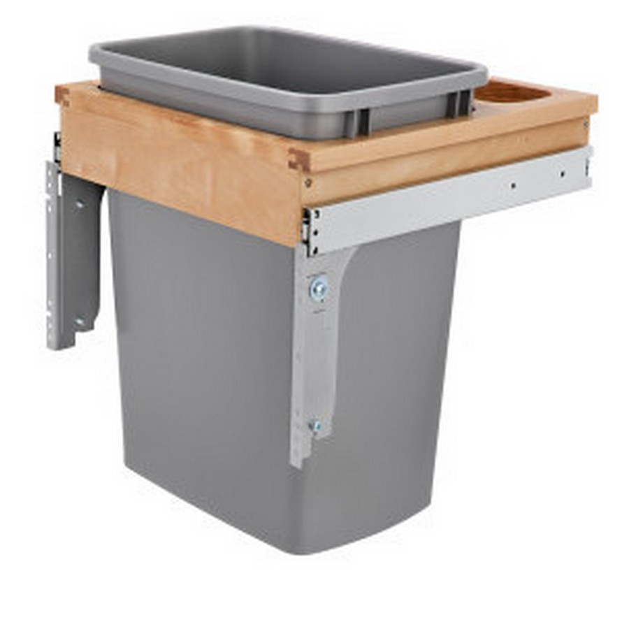 4WCTM Top Mount Single 35 Quart Waste Container Maple Rev-A-Shelf 4WCTM-1816DM-1
