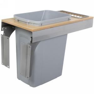 KV TSC12-1-35PT 35QT Top Mount Trash Pull-Out with Soft-Close, Platinum, Knape and Vogt