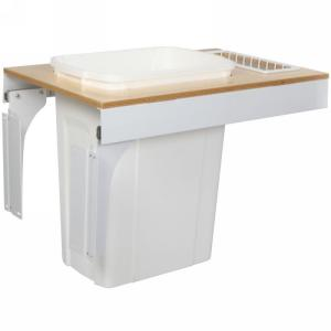 KV TSC15-1-35WH 35QT Top Mount Trash Pull-Out with Soft-Close, White, Knape and Vogt