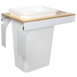 KV TSC15-1-50WH 50QT Top Mount Trash Pull-Out with Soft-Close, White, Knape and Vogt