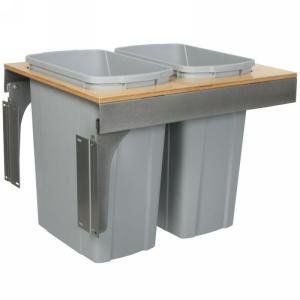 KV TSC18-2-35PT Double 35QT Top Mount Trash Pull-Out with Soft-Close, Platinum, Knape and Vogt