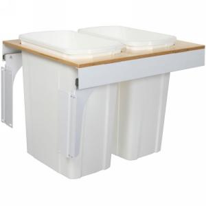 KV TSC18-2-35WH Double 35QT Top Mount Trash Pull-Out with Soft-Close, White, Knape and Vogt