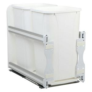 KV USC12-2-27WH Double 27QT Bottom Mount Trash Pull-Out with Soft Close, White, Knape and Vogt