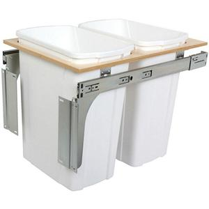 KV PDMTM15-2-35WH Double 35QT Top Mount Trash Pull-Out, White, Knape and Vogt