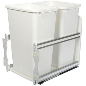 KV USC18-2-50WH Double 50QT Bottom Mount Trash Pull-Out with Soft Close, White, Knape and Vogt