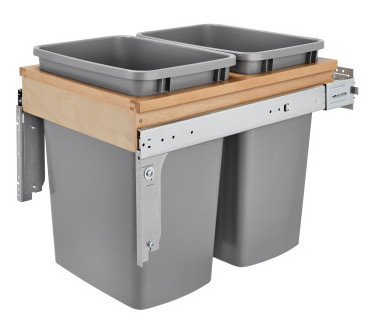 4WCTM Top Mount Double 35 Quart Waste Container (Inset) Maple Rev-A-Shelf 4WCTM-18INDM-2