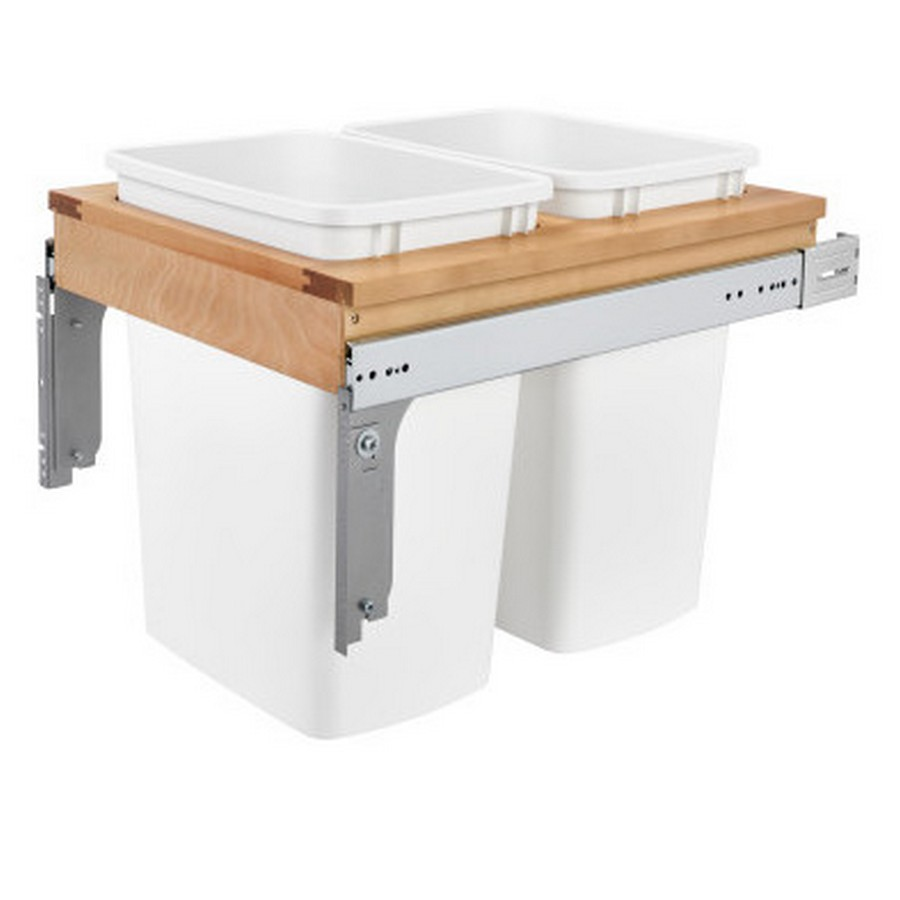 4WCTM Top Mount Double 50 Quart Waste Container Maple Rev-A-Shelf 4WCTM-1850DM2-419-FL