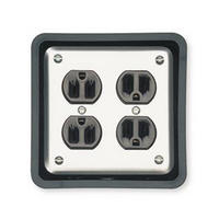Mockett JB1-90, Square Plastic 1-Piece, Junction Box Grommet Liner, 4-Outlet Box Type, Bore Hole: 4-13/16 Square, Black