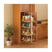 KV P4250CM-W, Pantry Pull-Out Frame, White, Baskets Center Mount, 3-13/16 W x 44in to 49-3/8 H x 22-1/4 D, Max Baskets: 4
