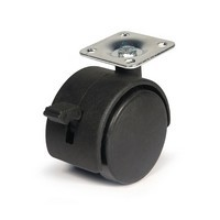 DH Casters C-T20P1BKB, Twin Wheel Swivel Caster, Light Duty, 2in, 85lb Capacity
