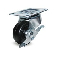 DH Casters C-GD30HRSB, Plate Mount Swivel & Rigid Caster, Medium Duty, 3in, 220lb Capacity, Plate Size 3-1/8 x 4-1/16in