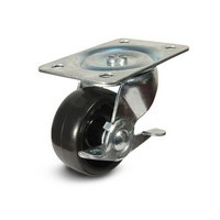 DH Casters C-GD30PSB, Plate Mount Swivel & Rigid Caster, Medium Duty, 3in, 220lb Capacity, Plate Size 3-1/8 x 4-1/16in