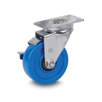 DH Casters C-LM4P1PUSB, Plate Mount Swivel & Rigid Caster, Medium Duty, 4in, 275lb Capacity, Plate Size 2-3/8 x 3-5/8
