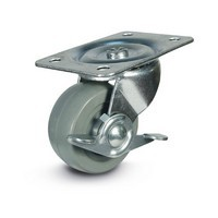 DH Casters C-GD25MRSB, Plate Mount Swivel & Rigid Caster, Medium Duty, 2-1/2, 175lb Capacity, Plate Size 2-3/4 x 3-27/32in