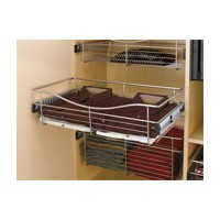 Rev-A-Shelf CB-301607SN-3, Pull-Out Wire Closet Basket, 30 W x 16 D x 7 H, Satin Nickel