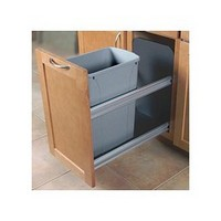 Knape and Vogt USC12-1-50PT 50QT Bottom Mount Trash Pull-Out with Soft Close, Platinum
