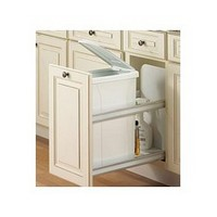 Knape and Vogt USC12-1-50WH 50QT Bottom Mount Trash Pull-Out with Soft Close, White