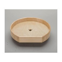 Rev-A-Shelf LD-4NW-241-20T-6 Bulk-6, 20in Wood D-Shape Lazy Susan with Tall Rim, Natural Wood Tall Series, 1-Shelf with Holes Drilled