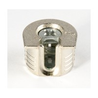 Titus 006449.847.001 Bulk-100, System 6 Fitting, 20mm Dia, 18/19mm (3/4) Panel Thickness, Drop-On, Non-Outrigger, 14mm Drilling Depth, Zinc (Nickel)
