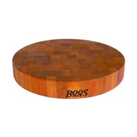 John Boos CHY-CCB15-R 15in Dia Cutting Board, Chopping Block Collection, Cherry, Non-Reversible, 15in Dia. x 2.5in Thick