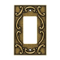 Liberty Hardware 126347, Single Decorator Wall Plate, Burnished Antique Brass, French Lace