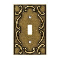 Liberty Hardware 126348, Single Switch Wall Plate, Burnished Antique Brass, French Lace