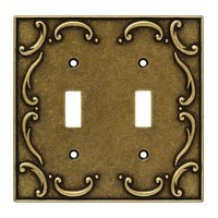Liberty Hardware 126349, Double Switch Wall Plate, Burnished Antique Brass, French Lace