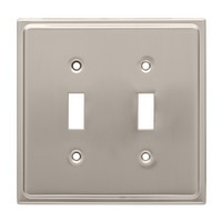 Liberty Hardware 126365, Double Switch Wall Plate, Satin Nickel, Country Fair