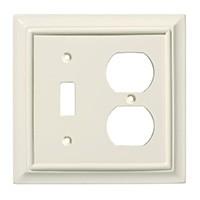 Liberty Hardware 126377, Single Switch/Duplex Wall Plate, Light Almond, Wood Architectural